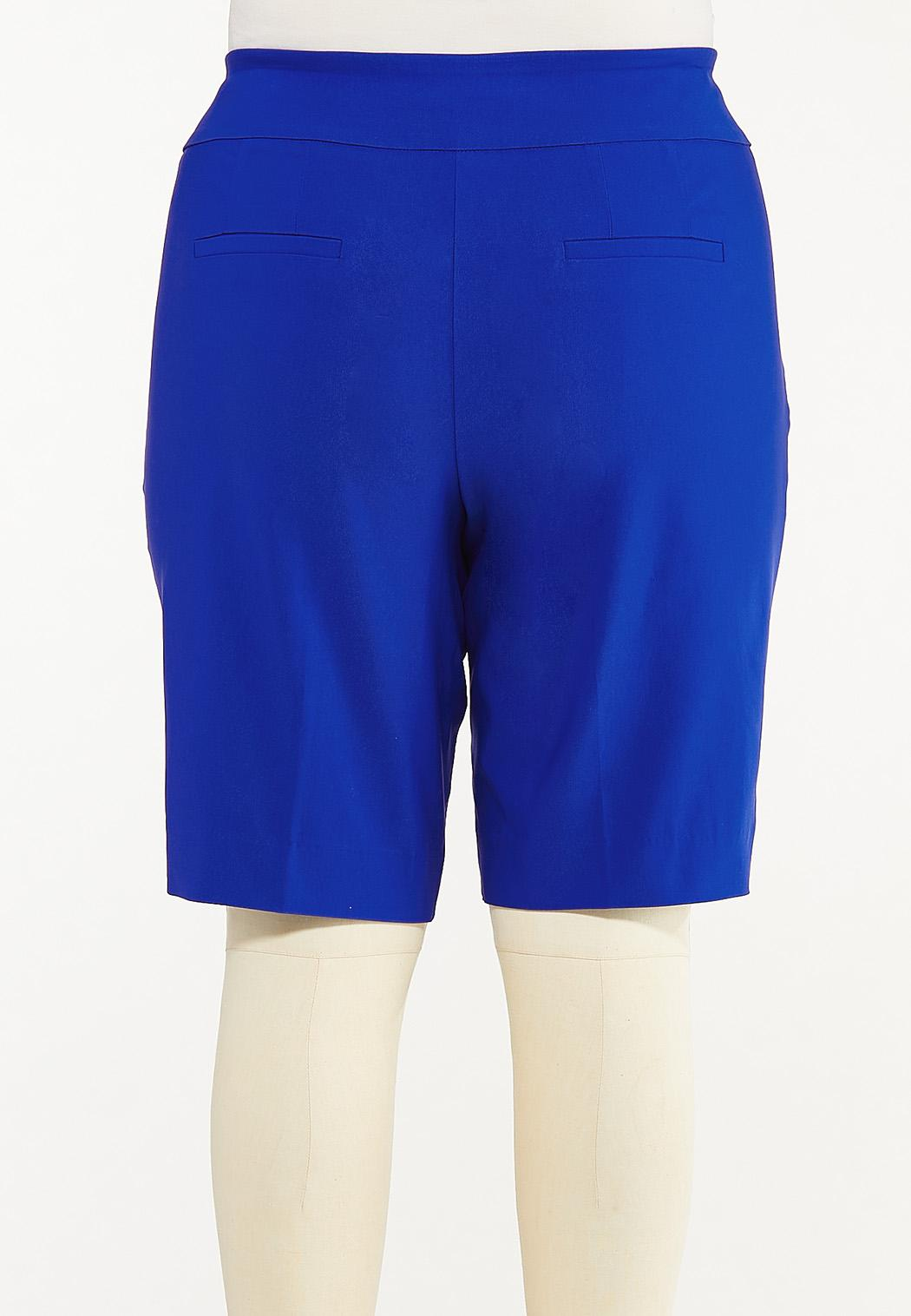 Plus Size Solid Bengaline Bermuda Shorts (Item #44533954)