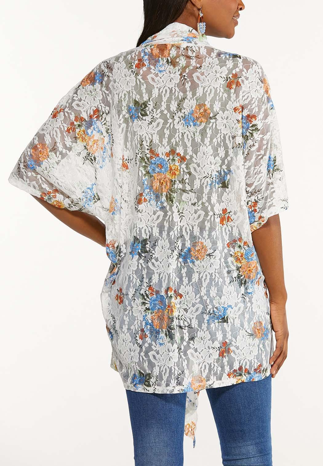 Plus Size Floral Lace Kimono (Item #44534040)