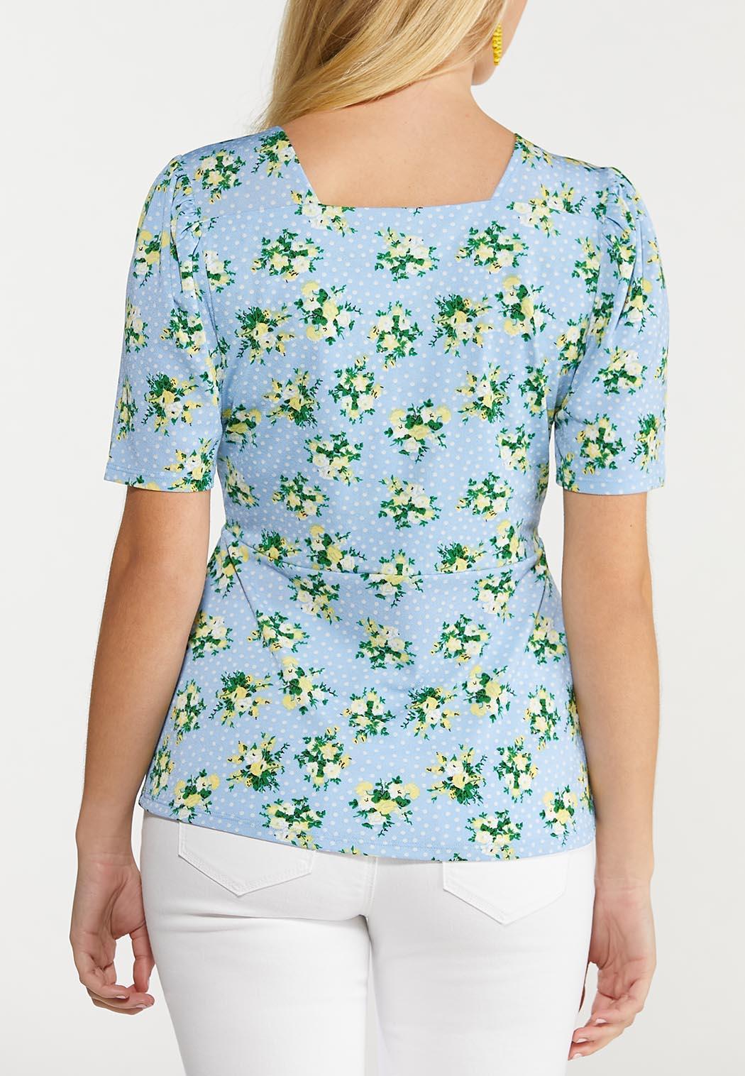 Floral Polka Dot Peplum Top (Item #44534077)