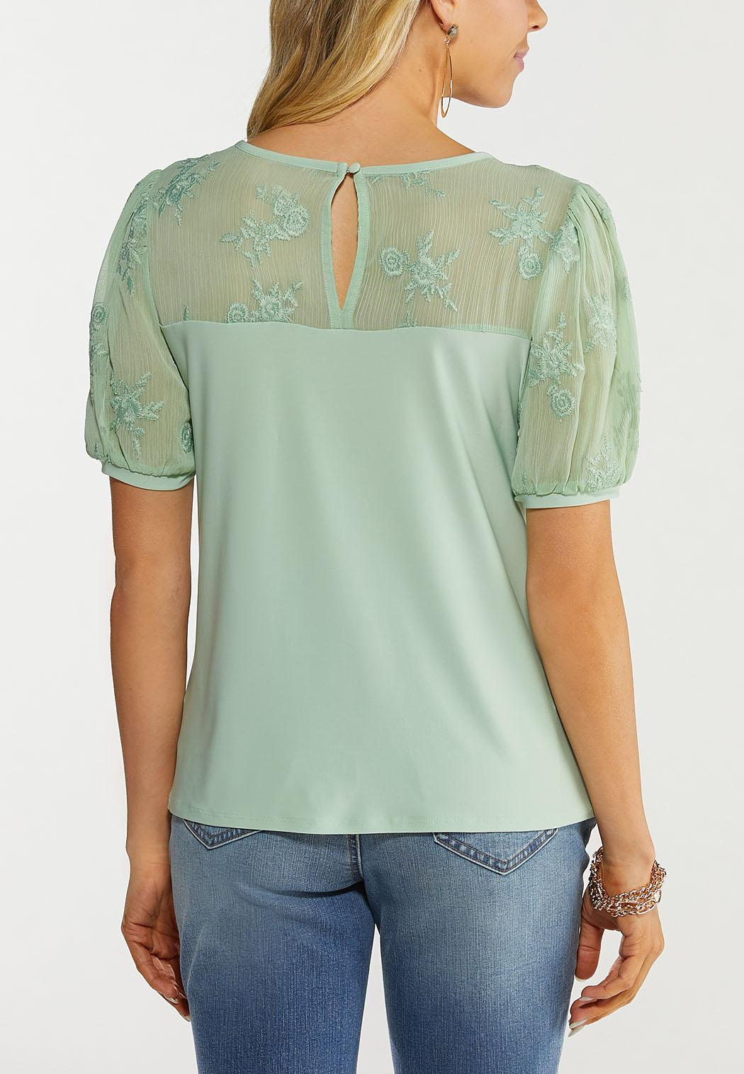 Plus Size Green Embroidered Puff Sleeve Top (Item #44534300)