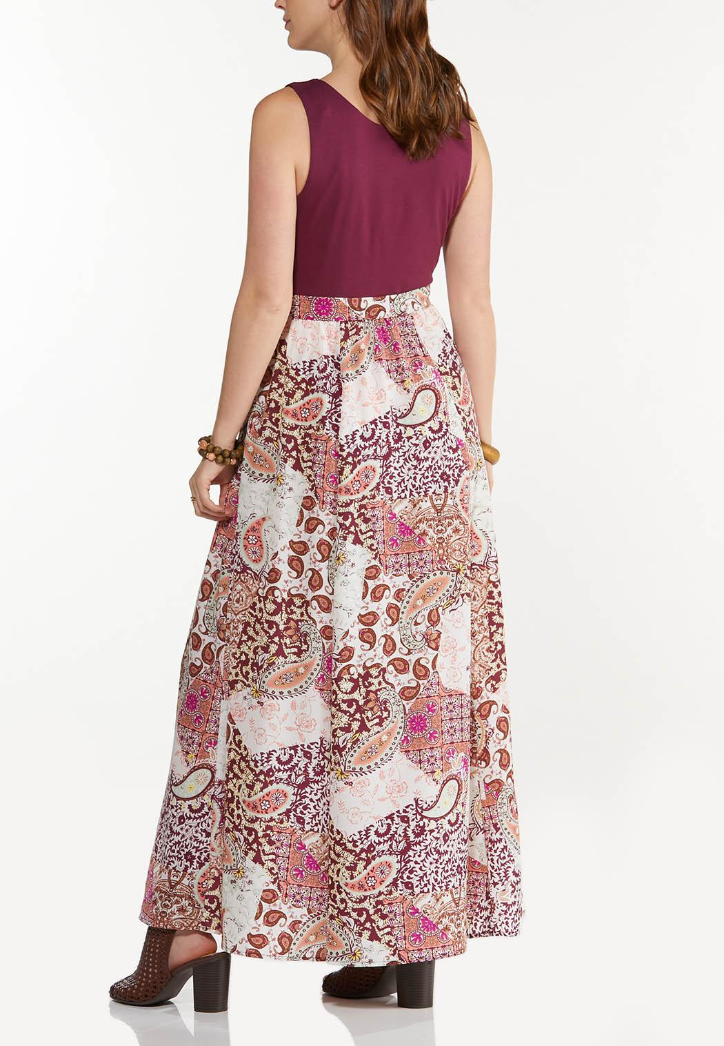 Plus Size Patchwork Paisley Maxi Dress (Item #44534780)