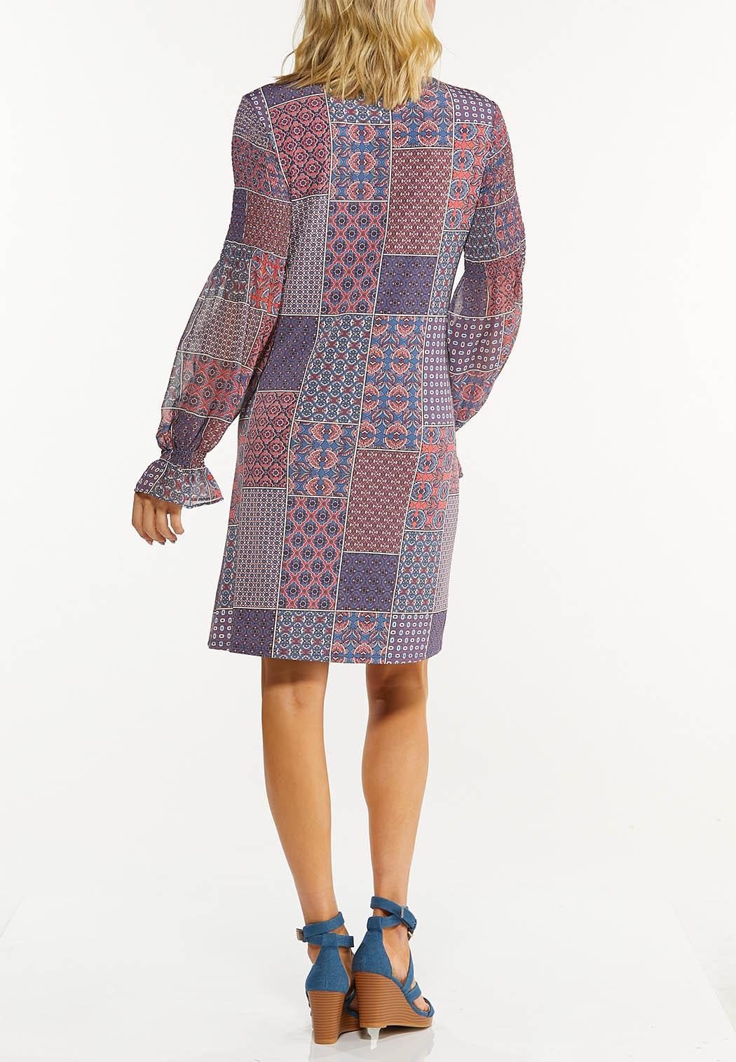 Plus Size Smocked Navy Patchwork Dress (Item #44534819)