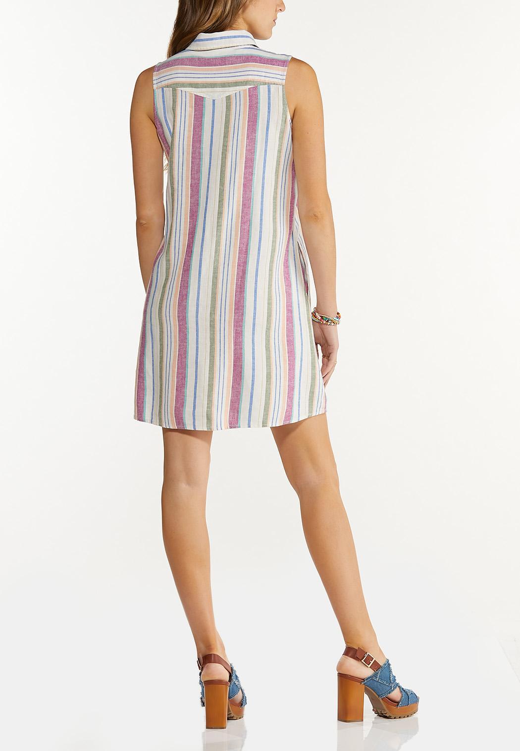 Plus Size Stripe Linen Dress (Item #44535057)