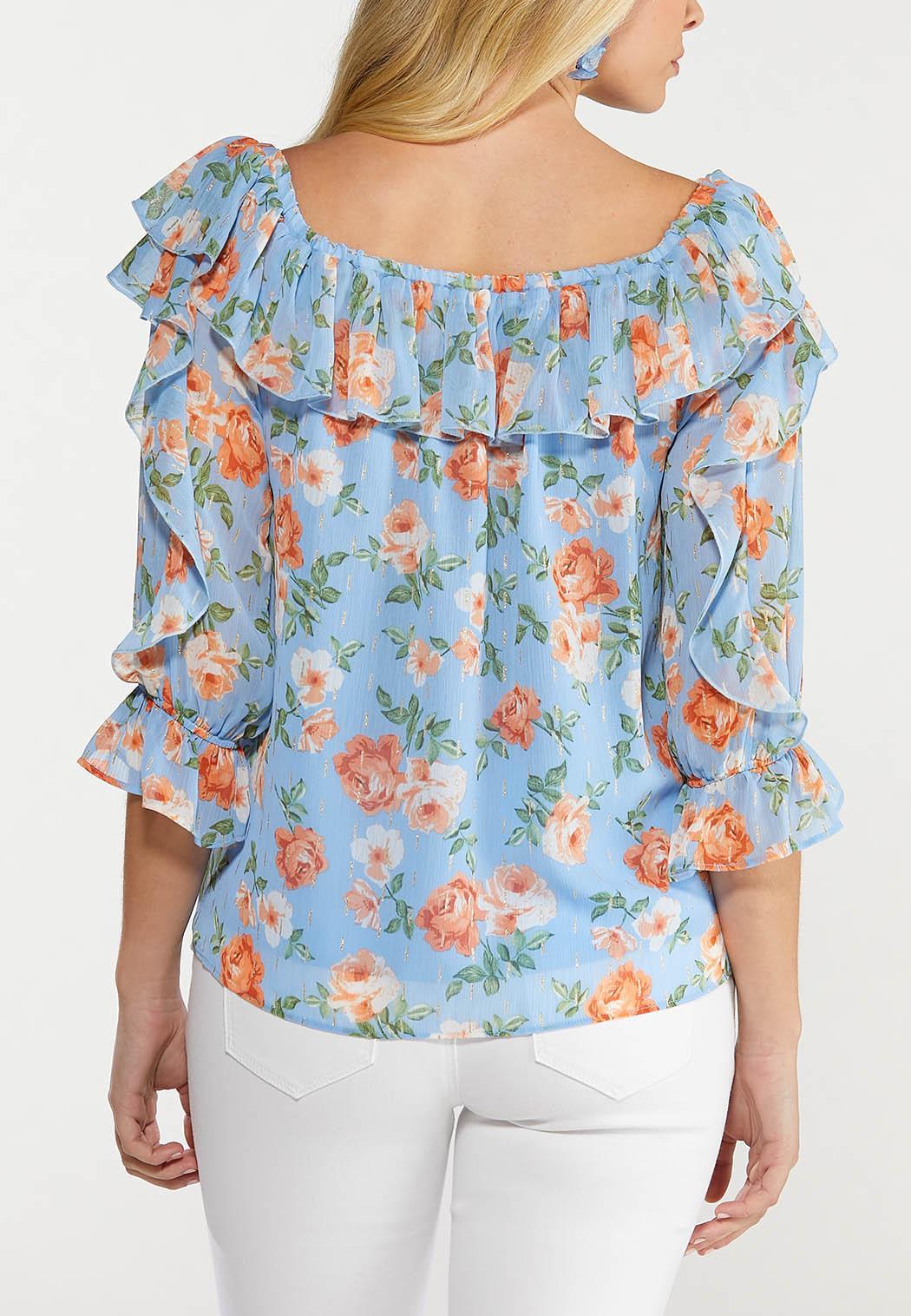 Plus Size Rose Lurex Ruffled Top (Item #44535131)