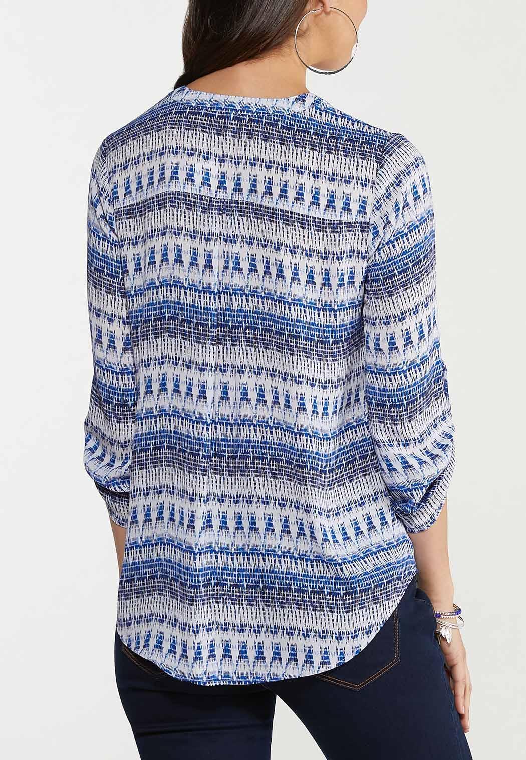 Brushed Blue Zip Front Top (Item #44535287)