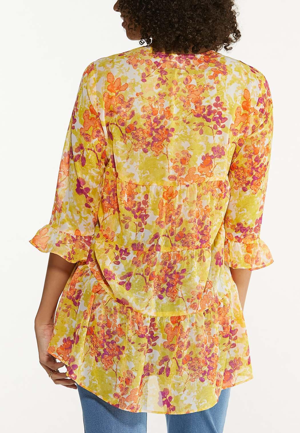 Plus Size Citrus Floral Kimono (Item #44535626)