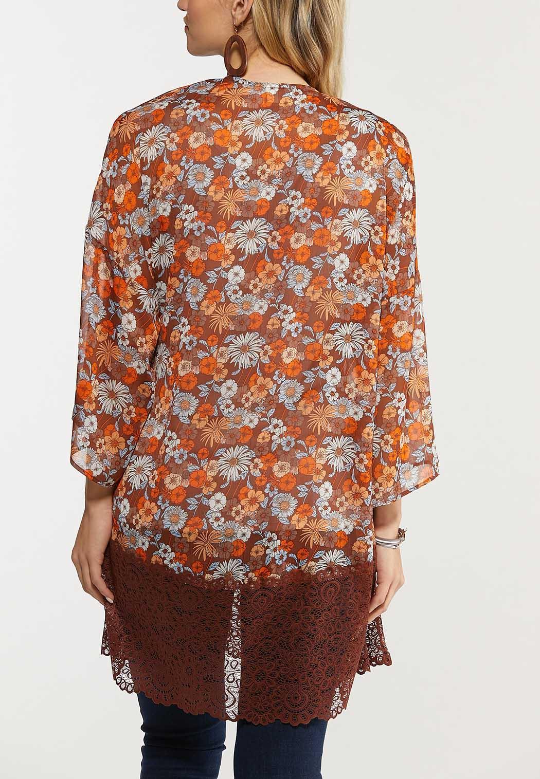 Plus Size Floral Lace Trim Kimono (Item #44535740)