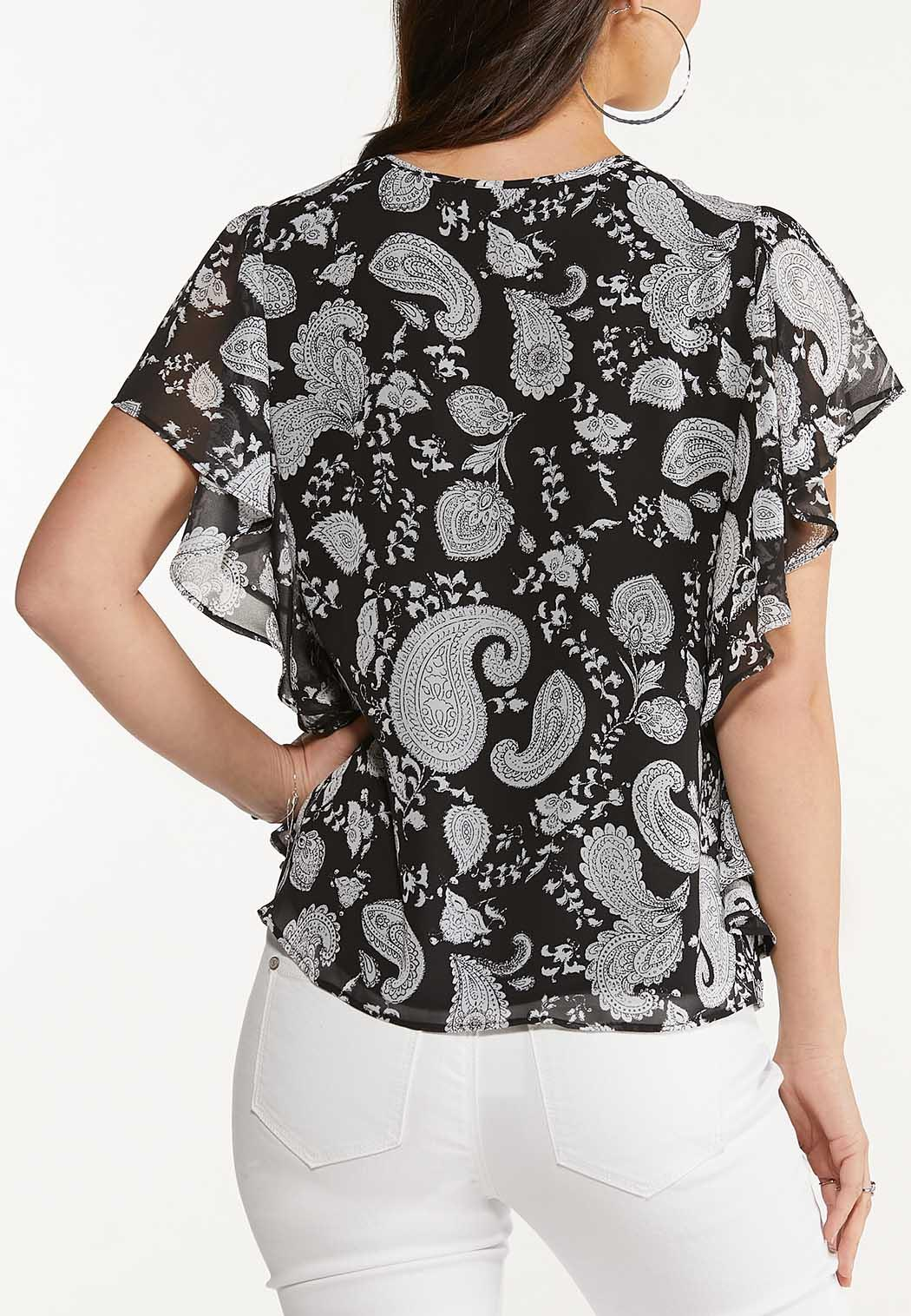 Plus Size Ruffled Contrast Paisley Top (Item #44535849)