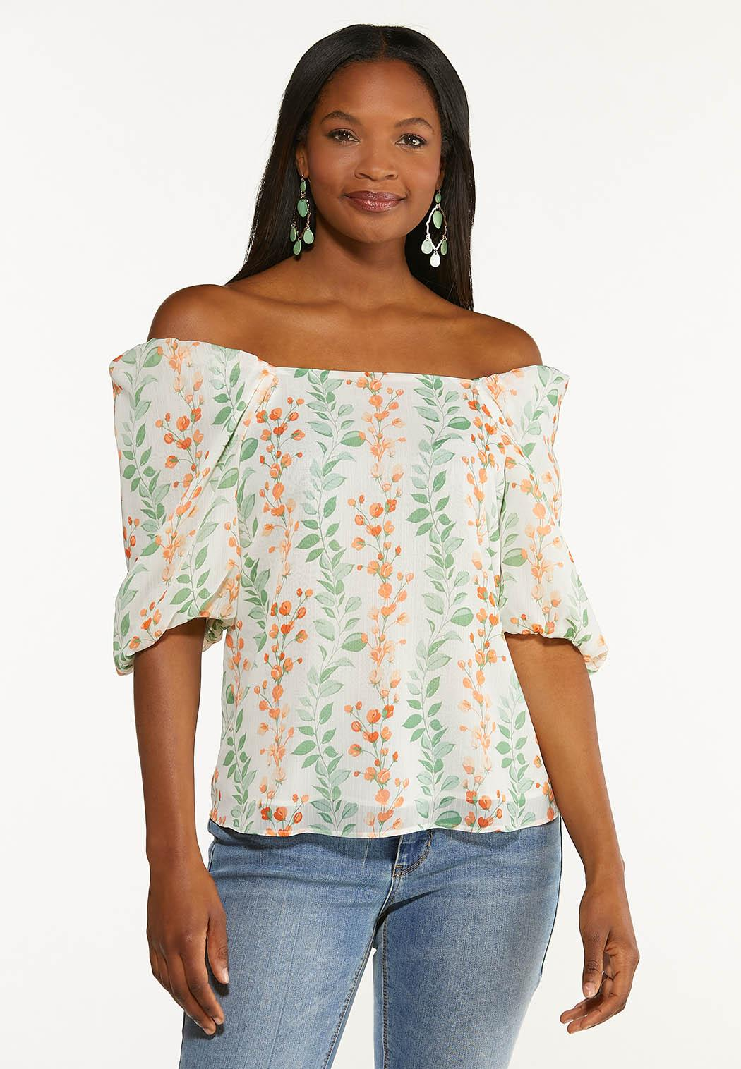 Floral Puff Sleeve Top (Item #44535903)