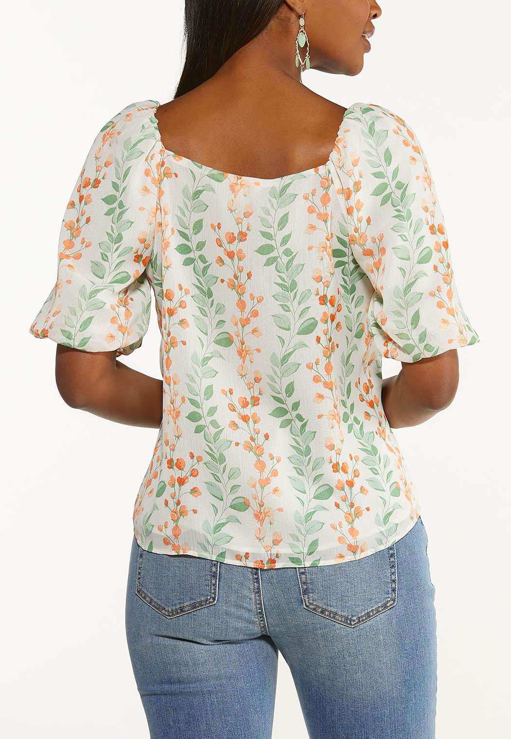 Plus Size Floral Puff Sleeve Top (Item #44535914)