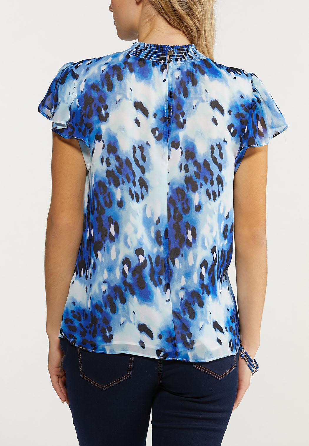 Plus Size Blue Animal Mock Neck Top (Item #44535947)