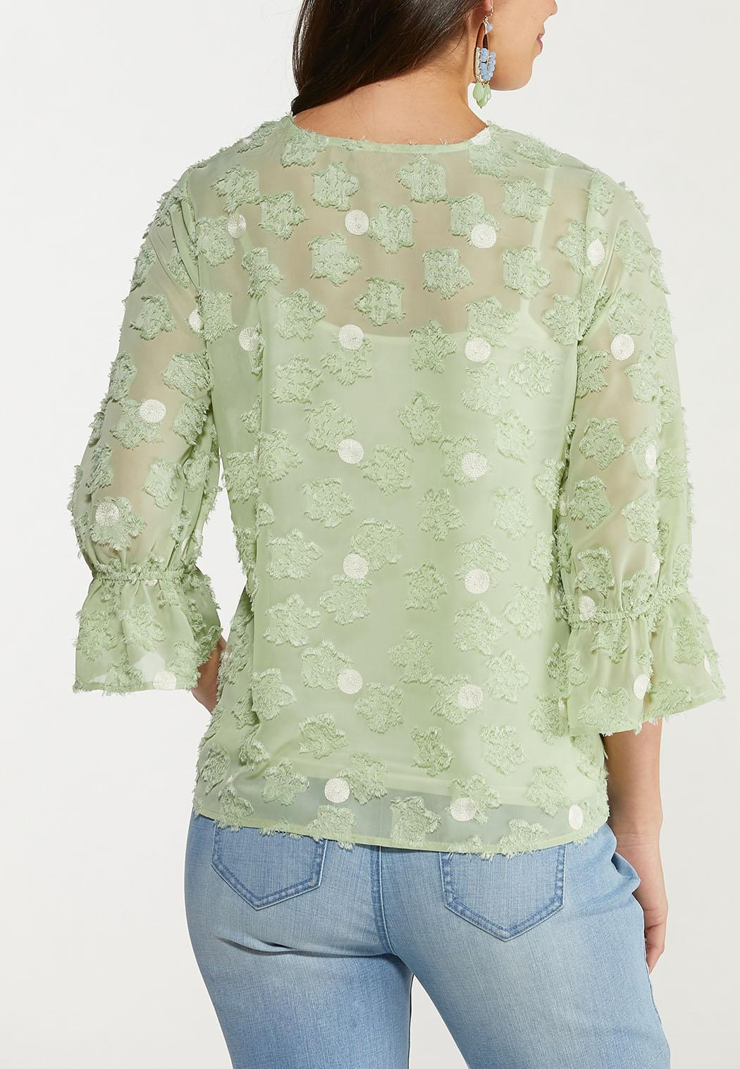 Dotted Green Textured Top (Item #44536775)