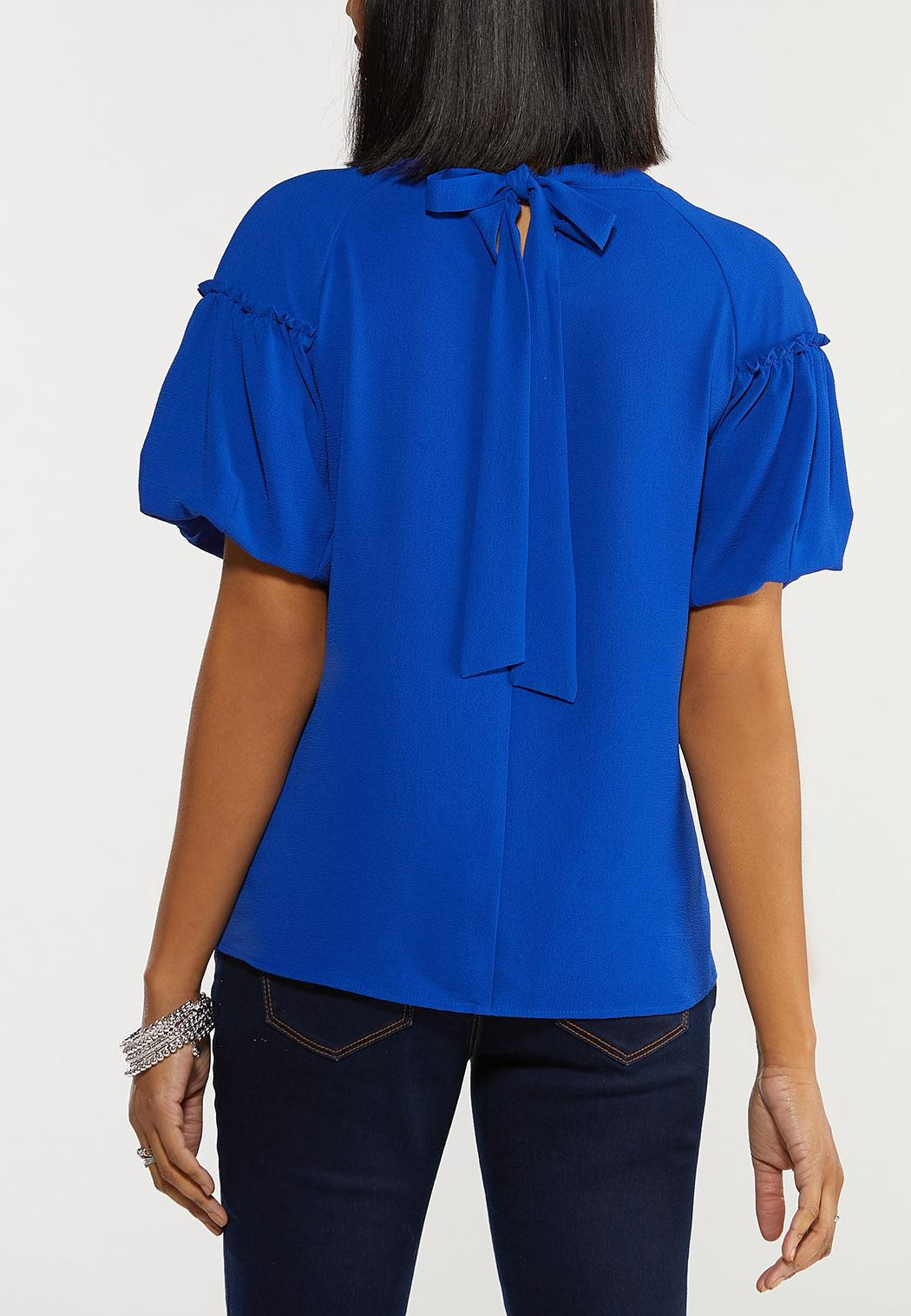 Plus Size Tie Back Puff Sleeve Top (Item #44537101)