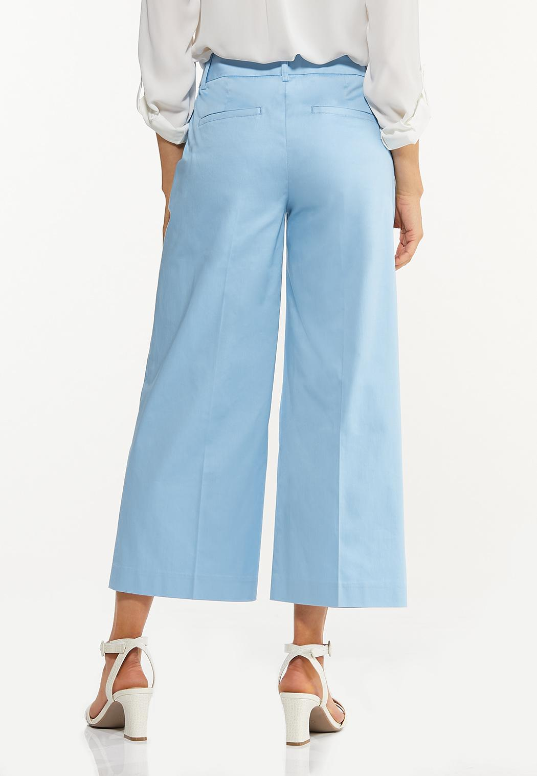 Solid Cropped Wide Leg Pants (Item #44537337)