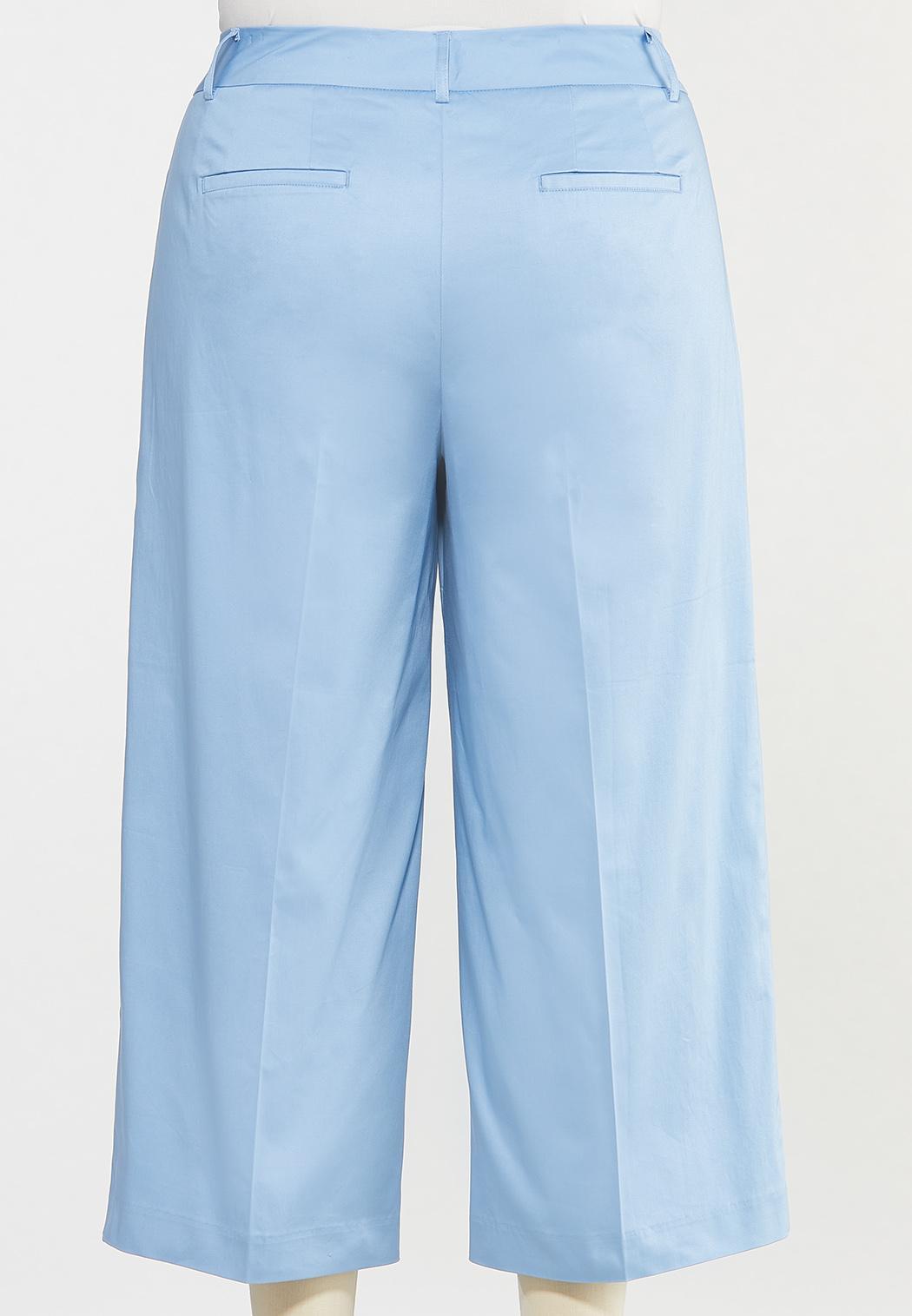 Plus Size Solid Cropped Wide Leg Pants (Item #44537511)