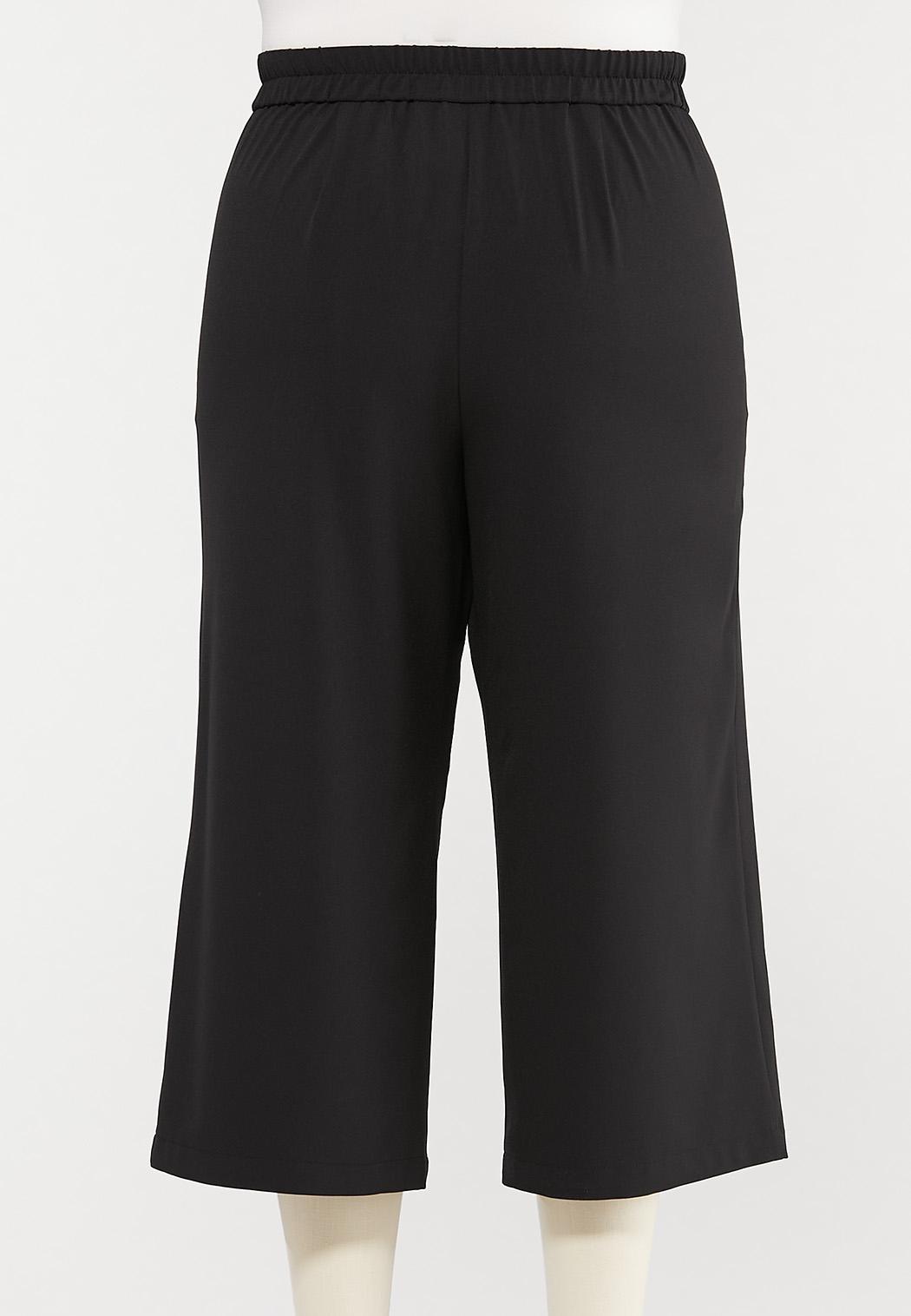 Plus Size Cropped Tie Waist Pants (Item #44537782)
