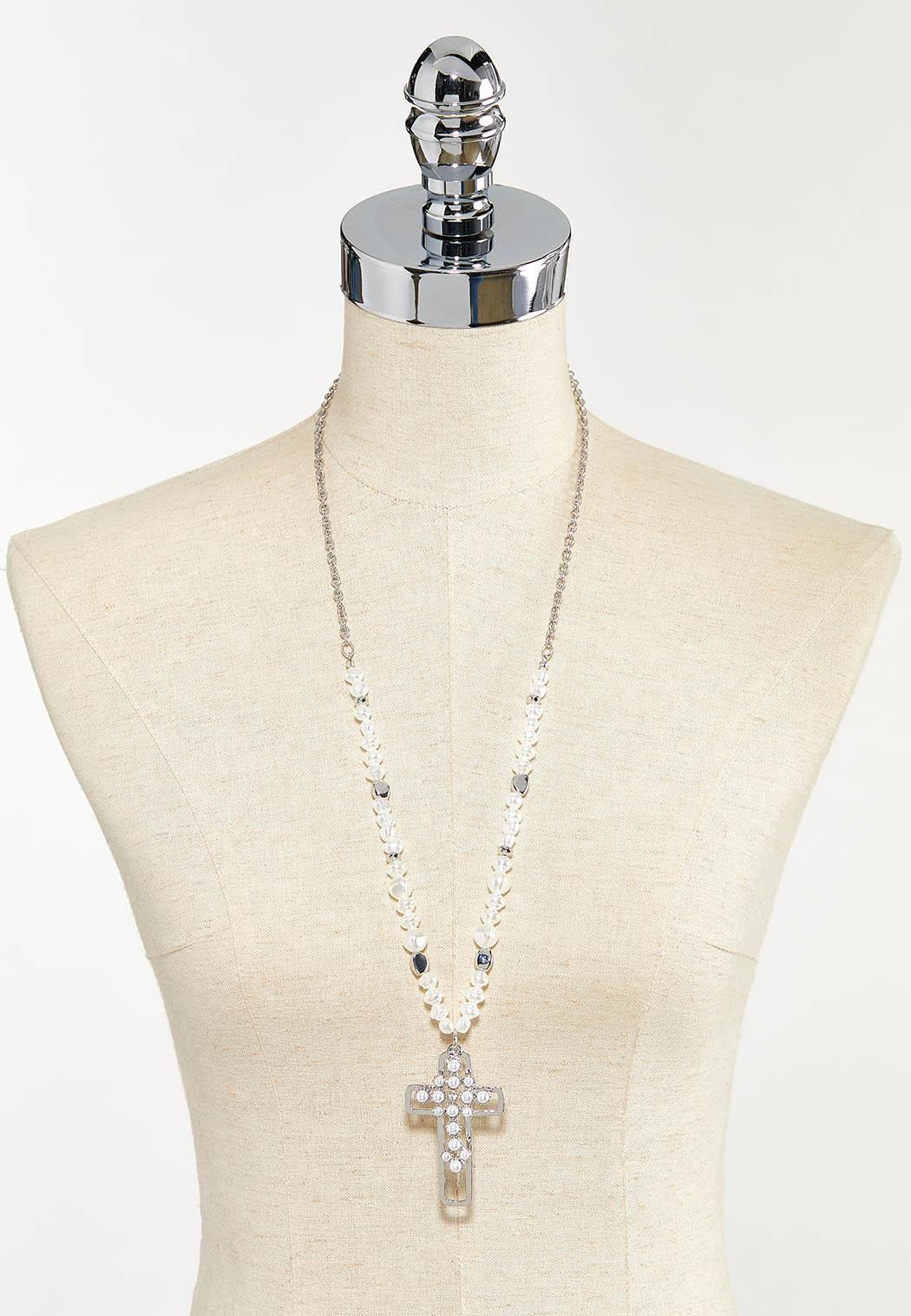Pearl Cross Pendant Necklace (Item #44542532)