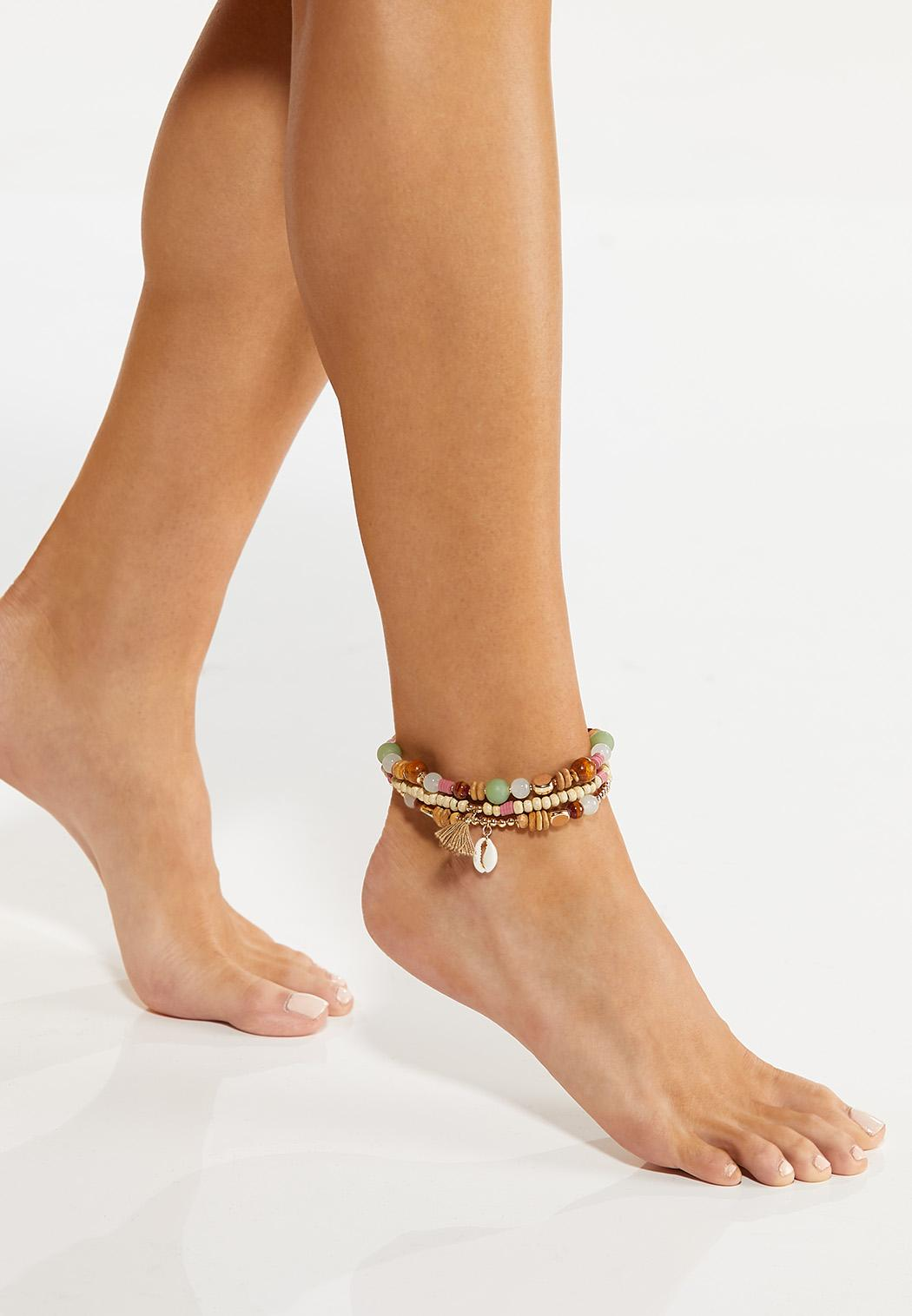 Triple Row Wood Bead Anklet (Item #44543410)