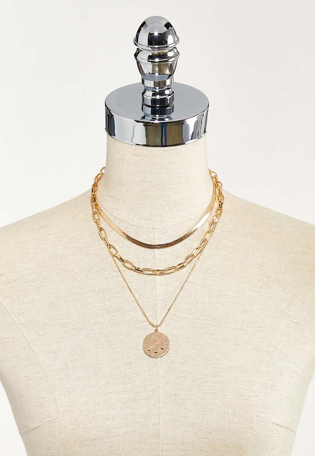 Layered Hammered Disc Necklace (Item #44543473)