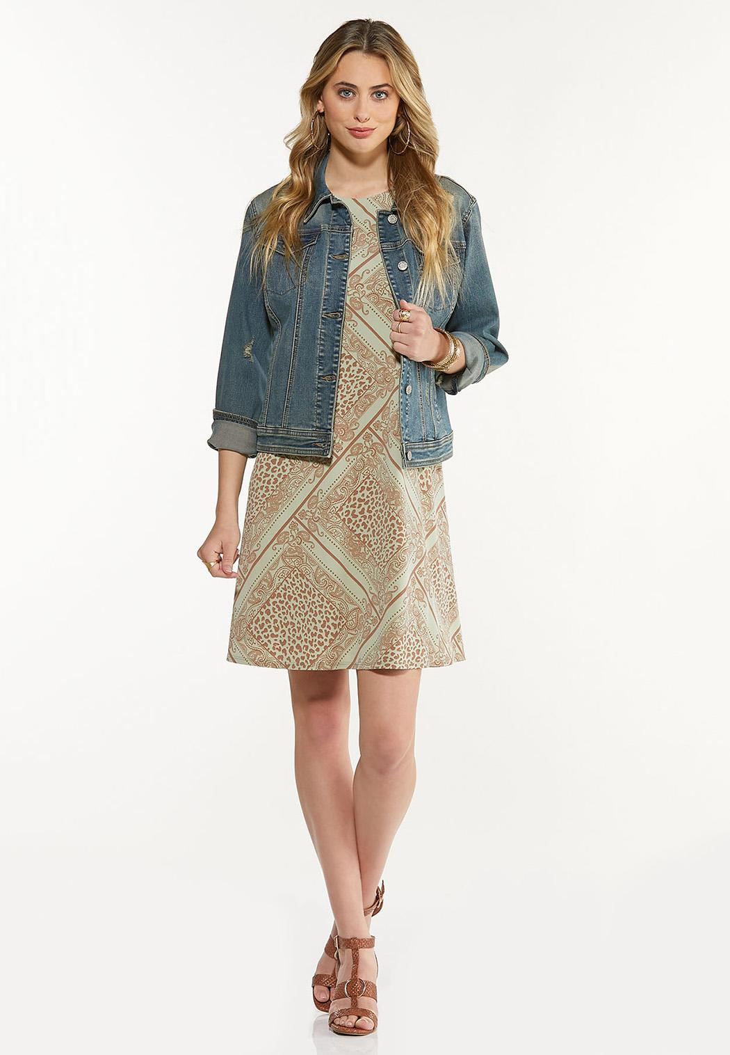 Plus Size Leopard Diamond Swing Dress (Item #44543879)