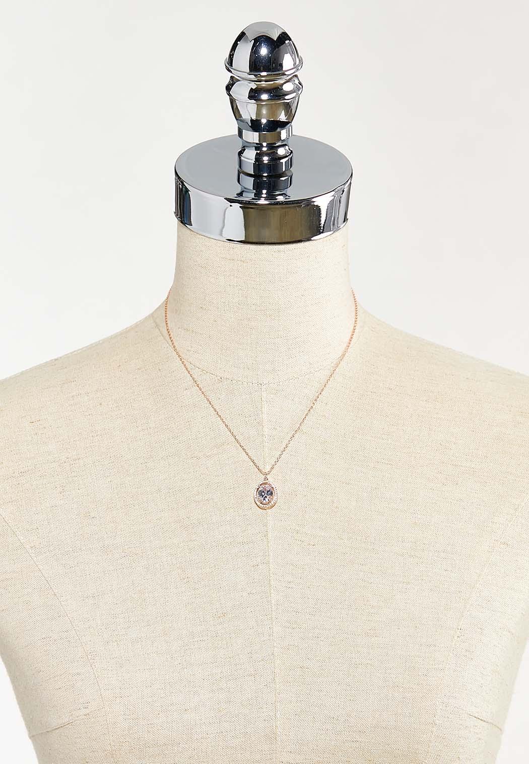 Halo Stone Pendant Necklace (Item #44543880)