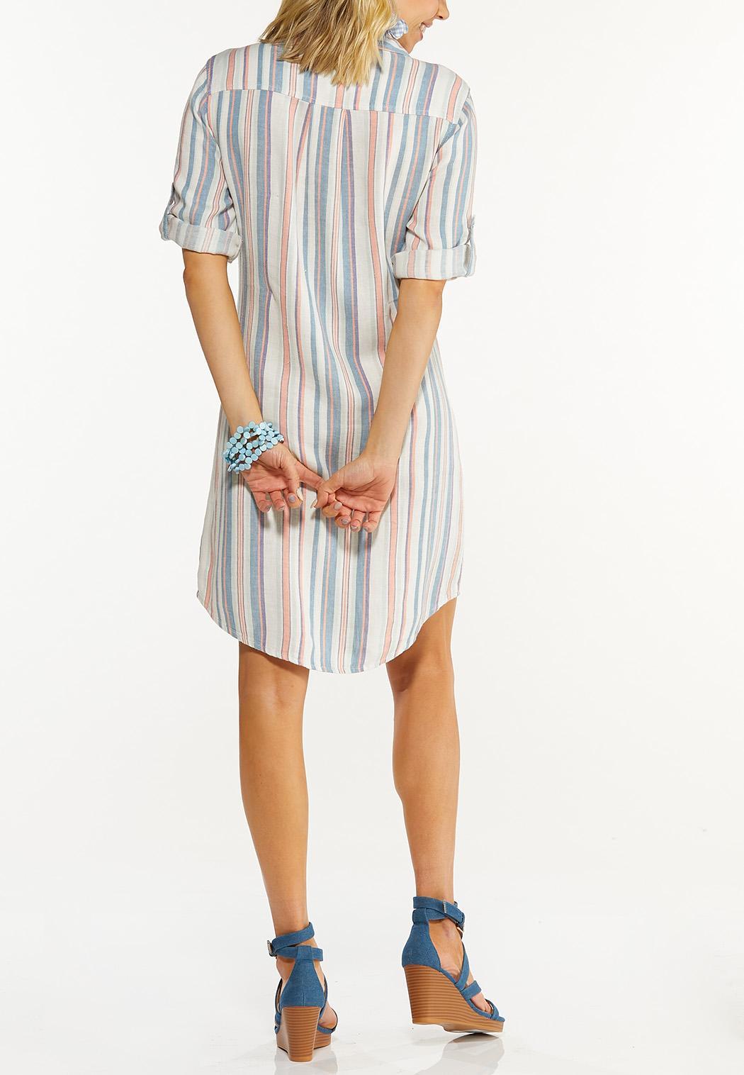 Plus Size Muted Stripe Linen Dress (Item #44544234)
