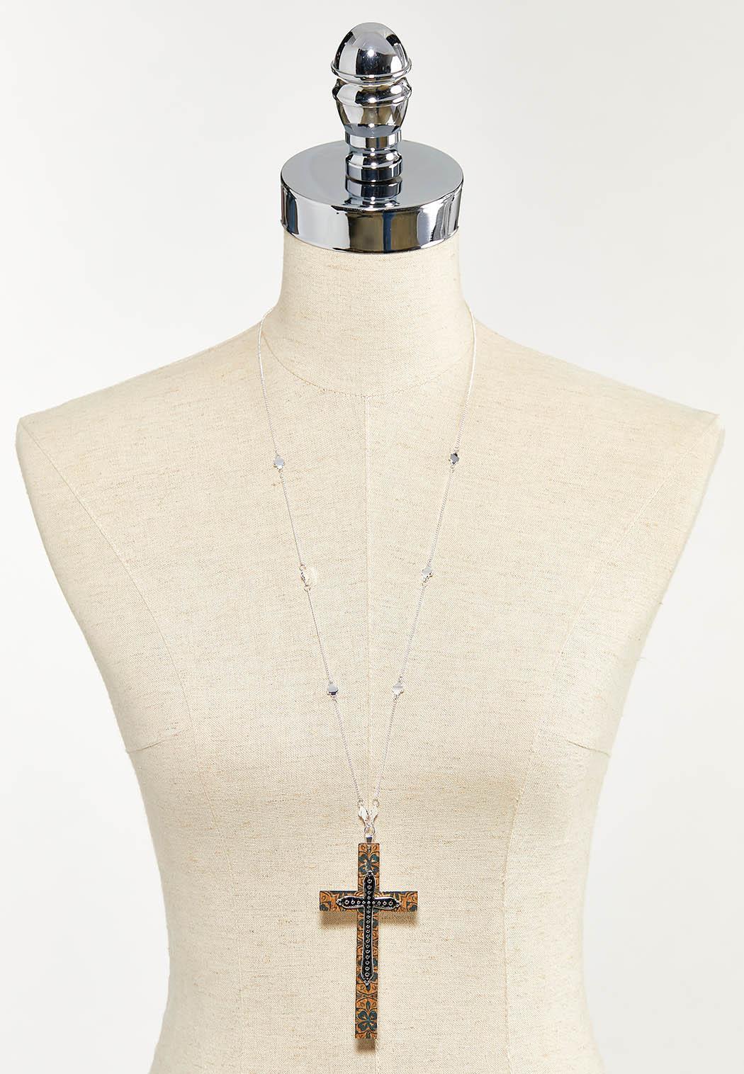 Cork Cross Pendant Necklace (Item #44544365)
