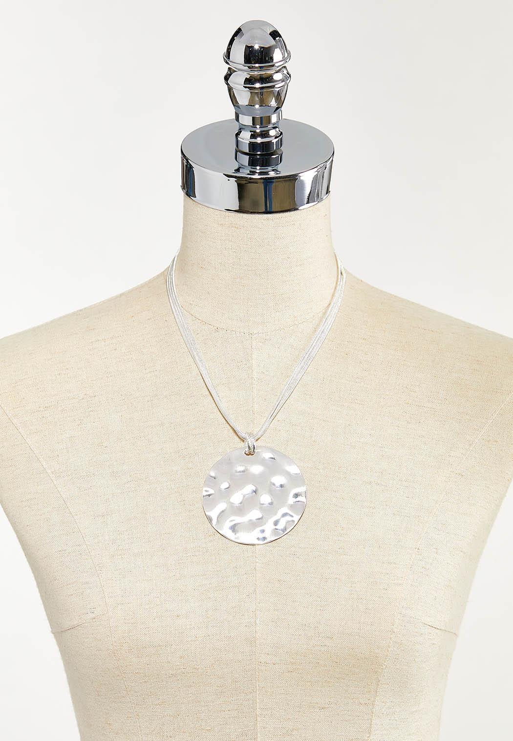 Hammered Circle Pendant Necklace (Item #44544374)