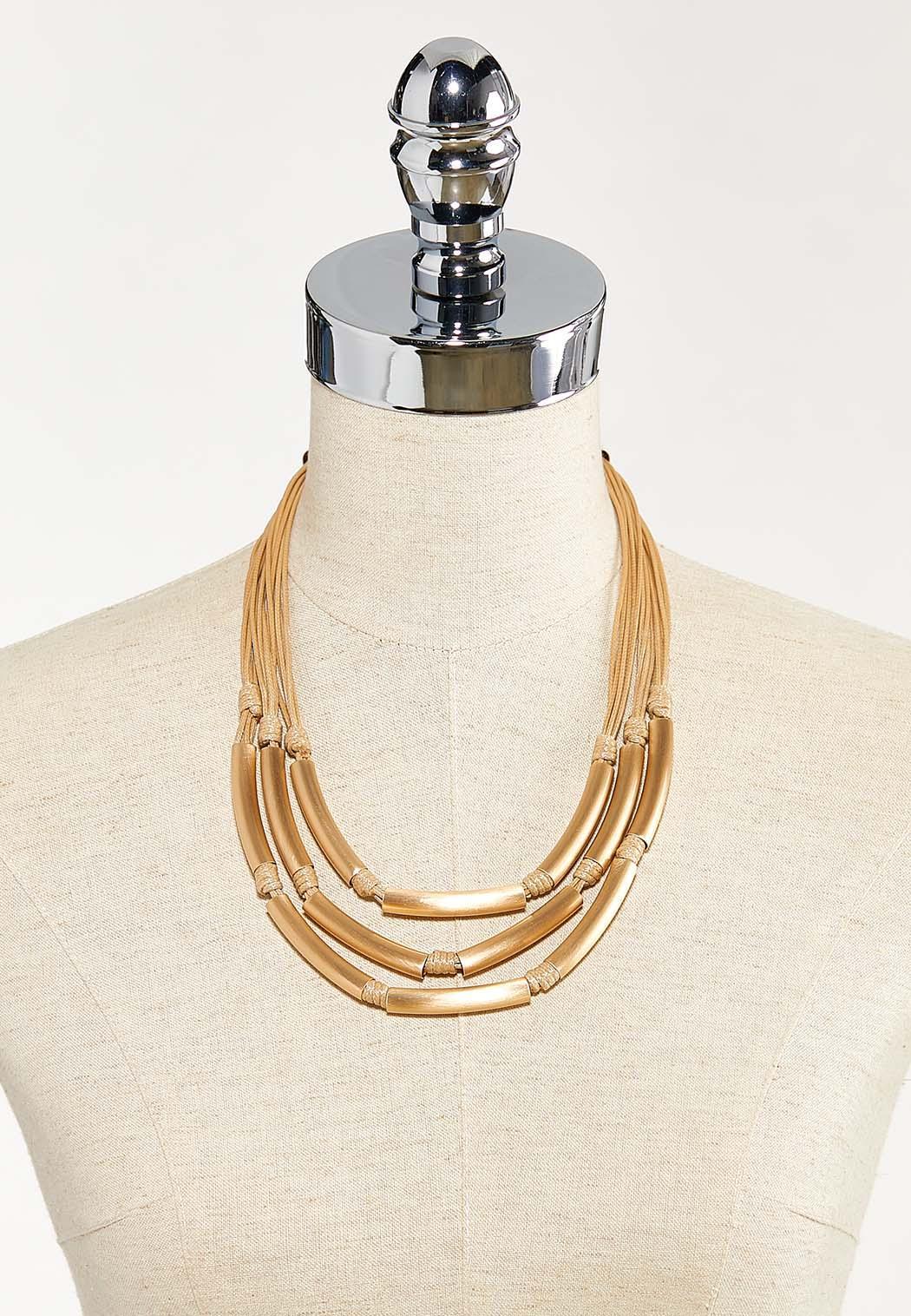 Layered Brushed Tubular Necklace (Item #44544401)