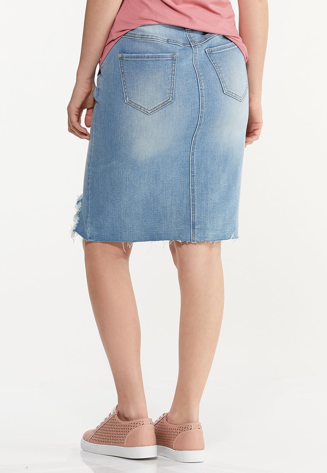 Plus Size Distressed Hem Denim Skirt (Item #44544881)