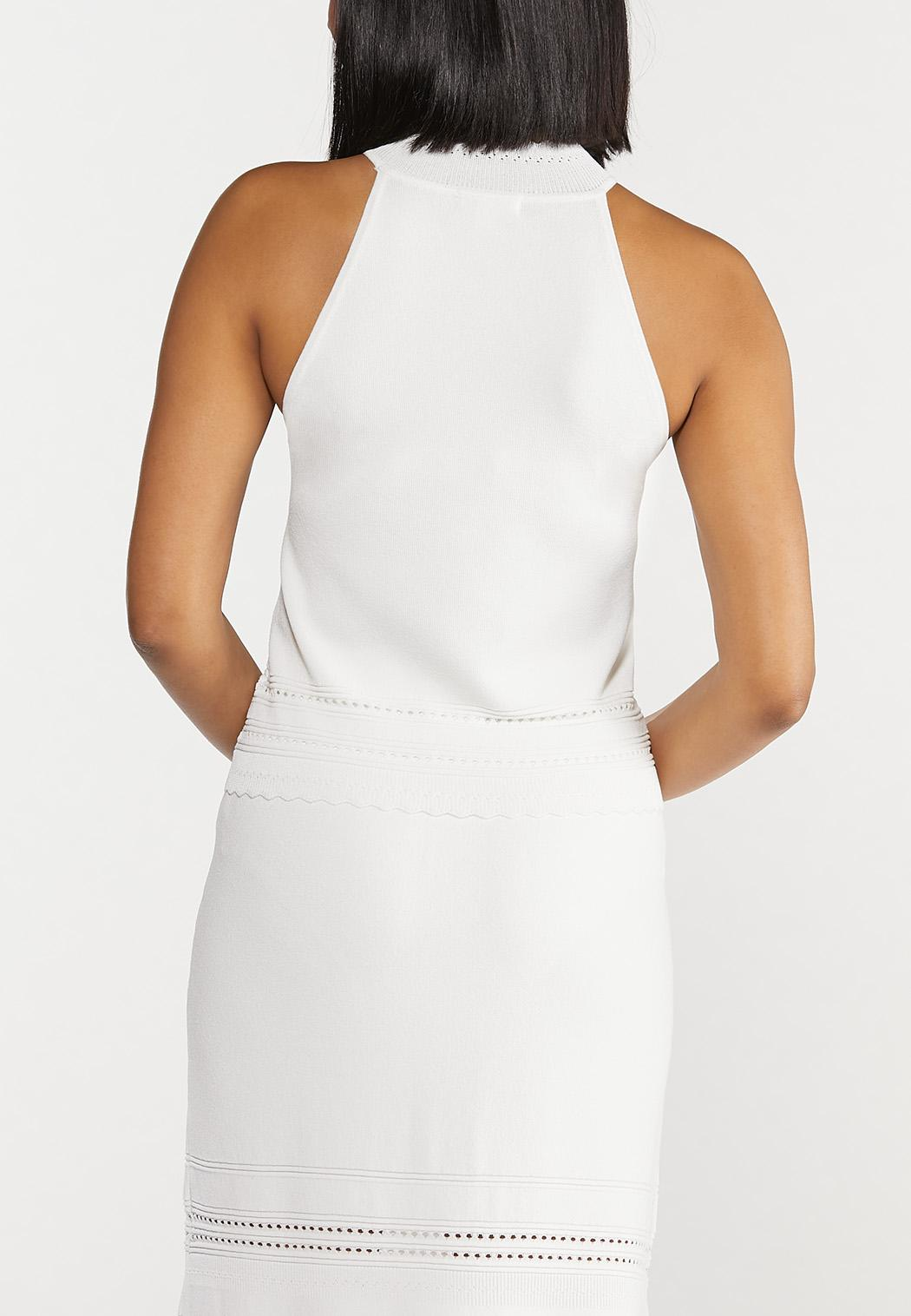 Plus Size Ivory Halter Knit Top (Item #44545156)