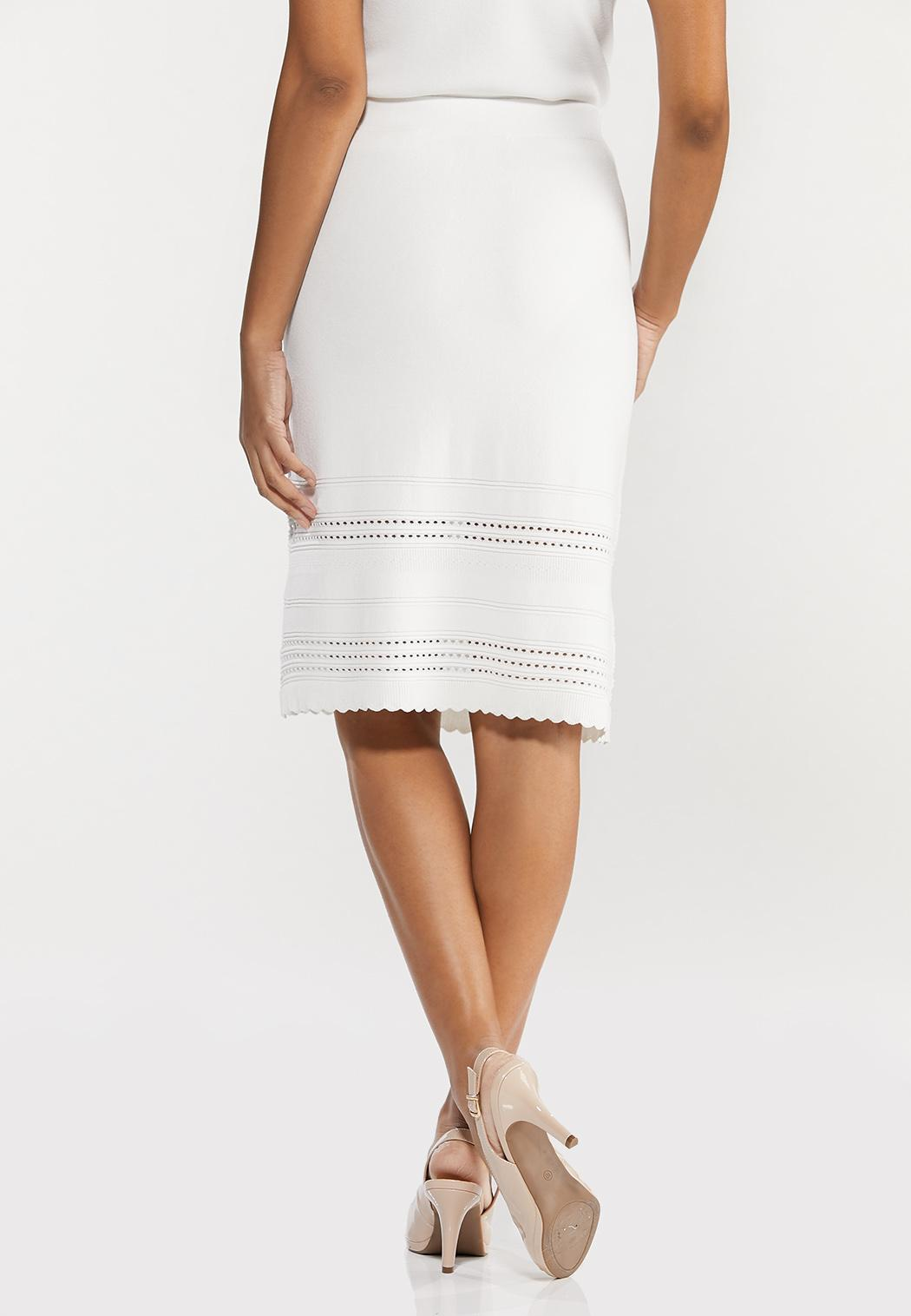 Plus Size Ivory Knit Skirt (Item #44545175)