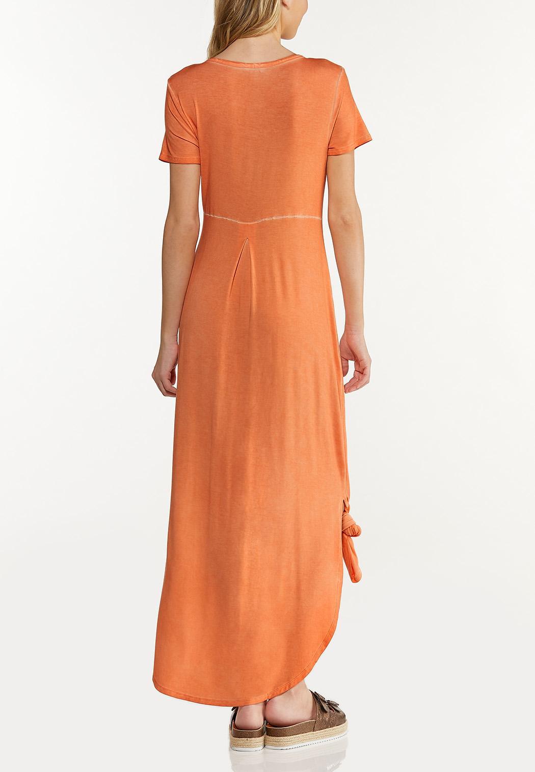 Dyed Knotted Hem Shirt Dress (Item #44545392)