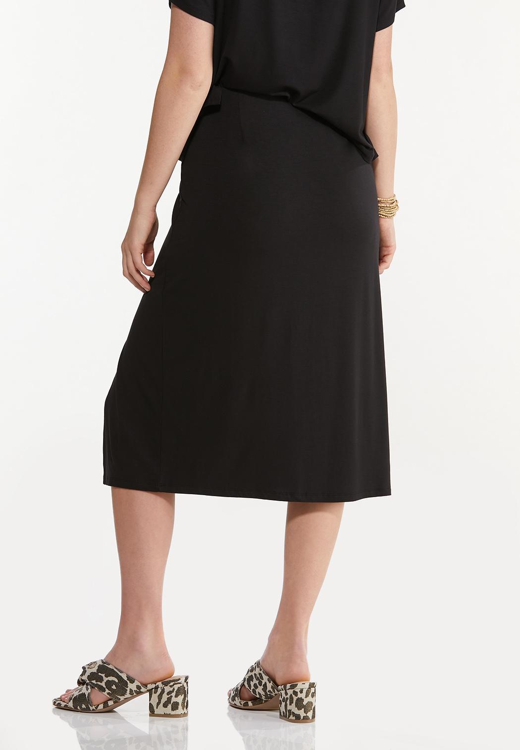 Plus Size Black Front Slit Skirt (Item #44545671)