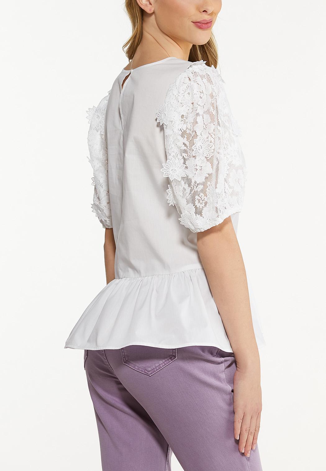 Lace Sleeve Peplum Top (Item #44545920)