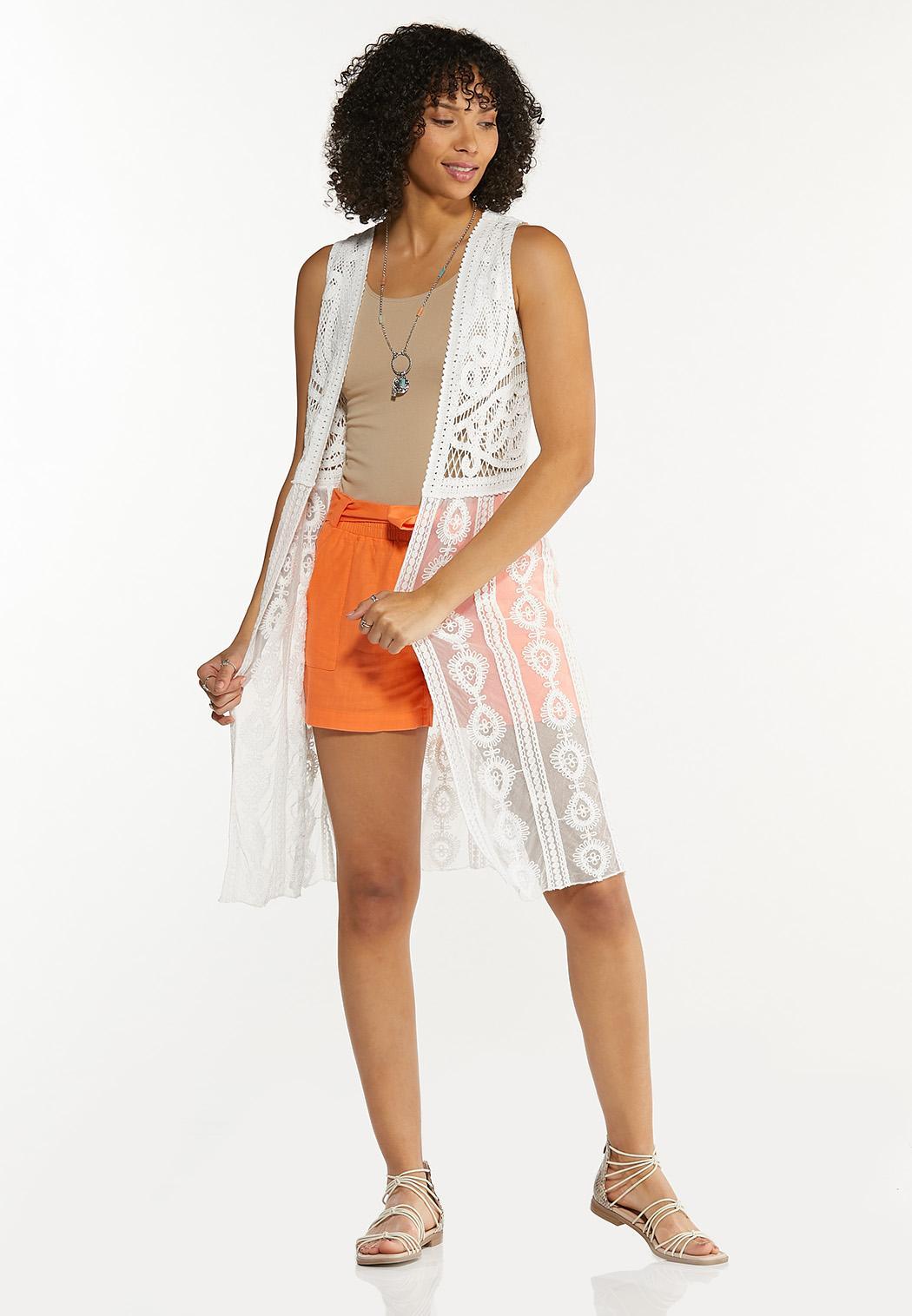 Plus Size White Crochet Vest (Item #44546537)