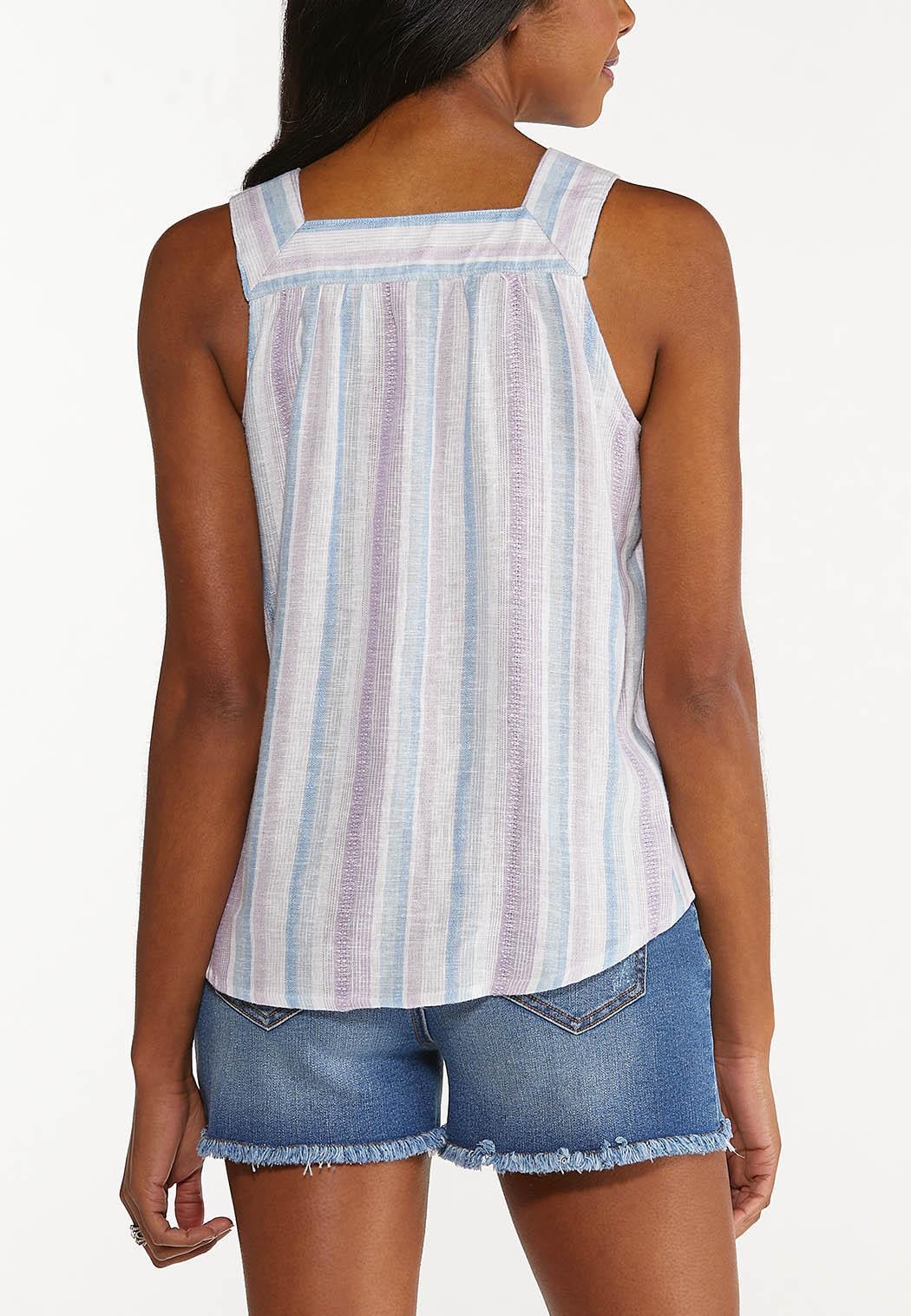 Plus Size Lavender Blue Linen Top (Item #44546655)