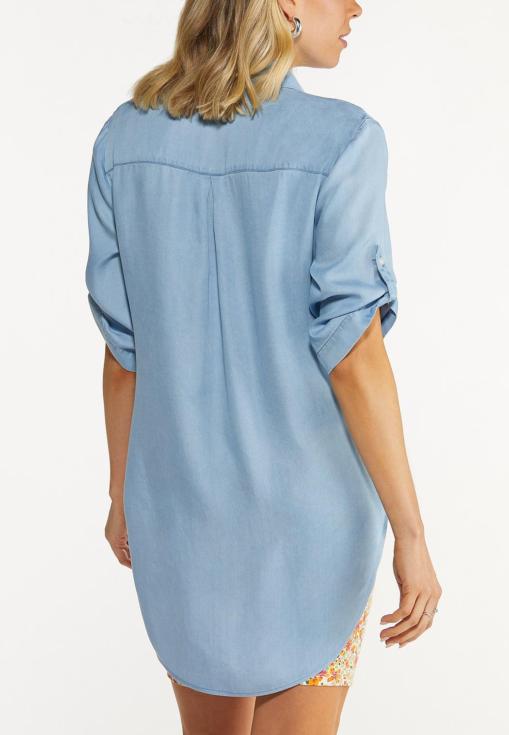 Plus Size Chambray Pullover Top (Item #44546682)