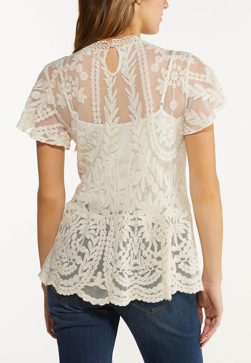 Mesh Embroidered Peplum Top (Item #44546689)