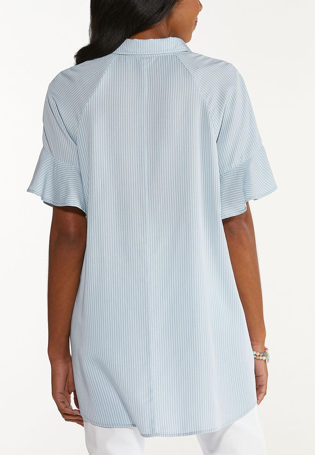 Chambray Stripe High-Low Top (Item #44546842)