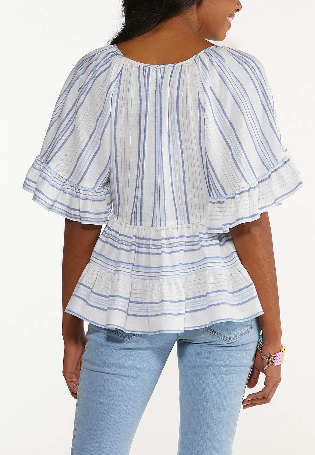 Plus Size Striped Linen Poet Top (Item #44547218)