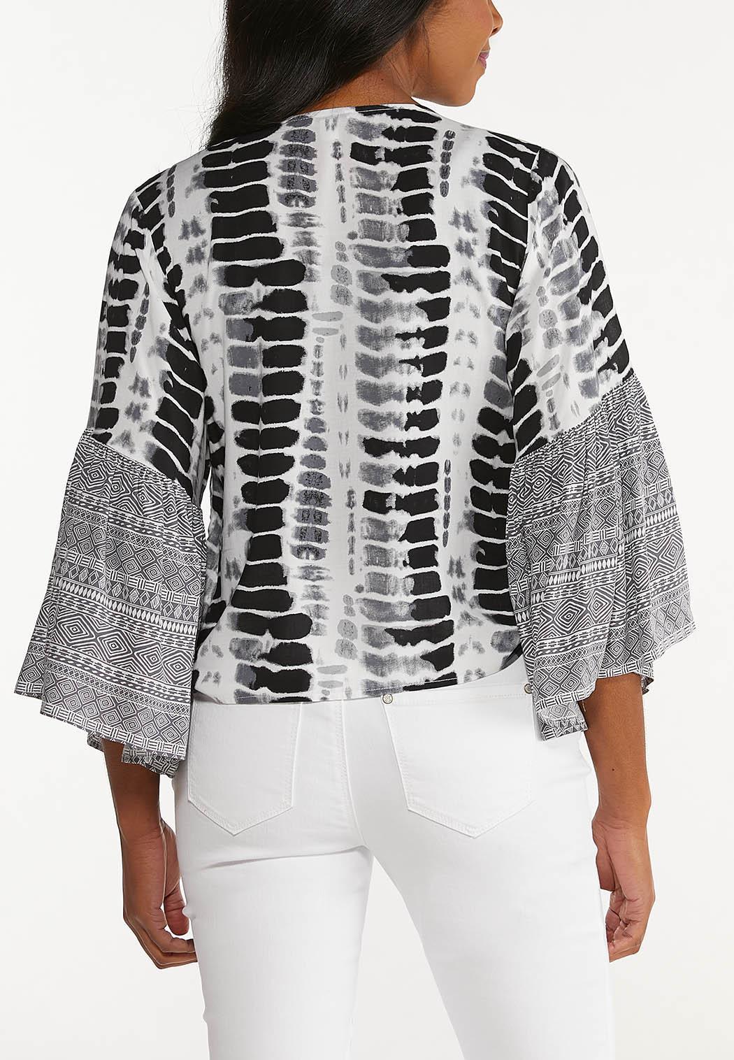 Plus Size Mixed Print Tie Front Top (Item #44547340)