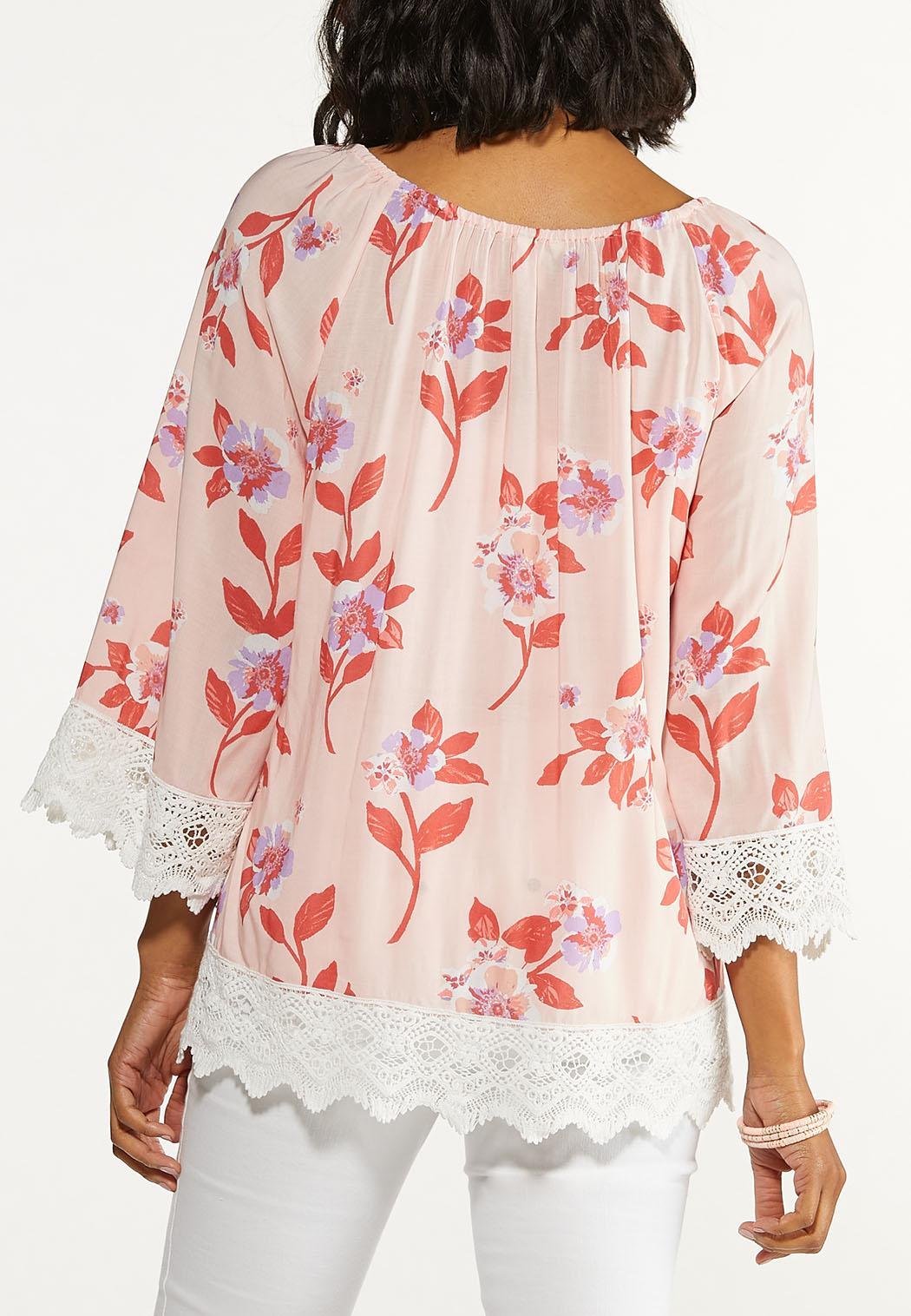 Plus Size Lace Trim Floral Poet Top (Item #44547375)