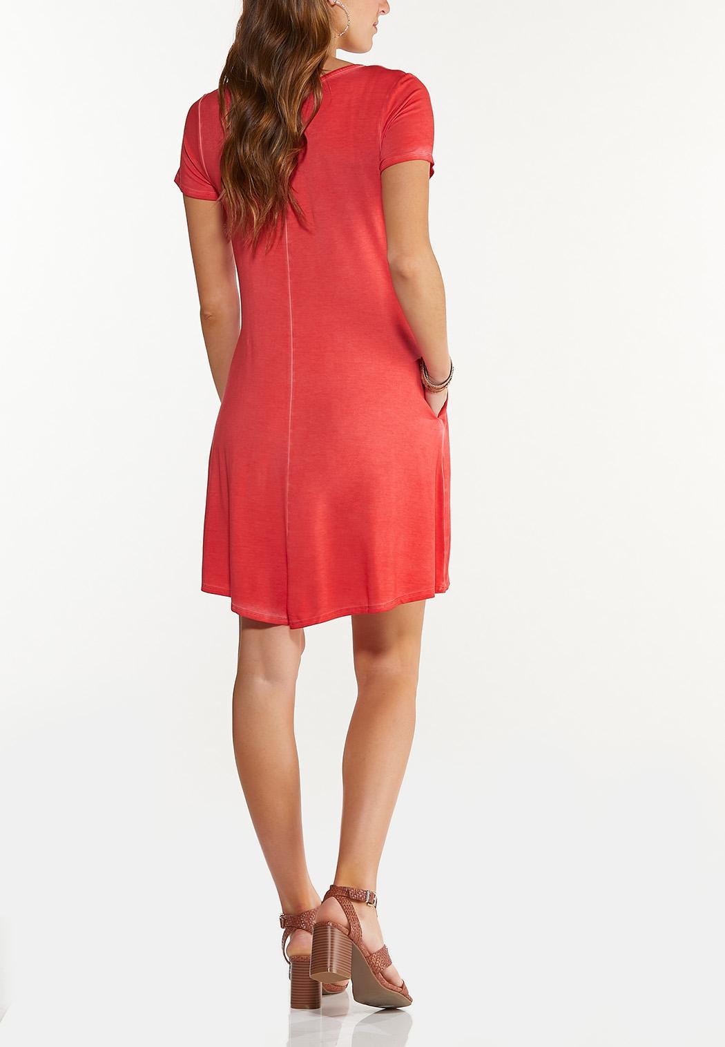 Plus Size Ruffle Pocket Swing Dress (Item #44547803)