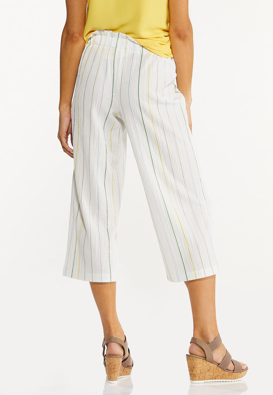 Cropped Textured Stripe Pants (Item #44547932)