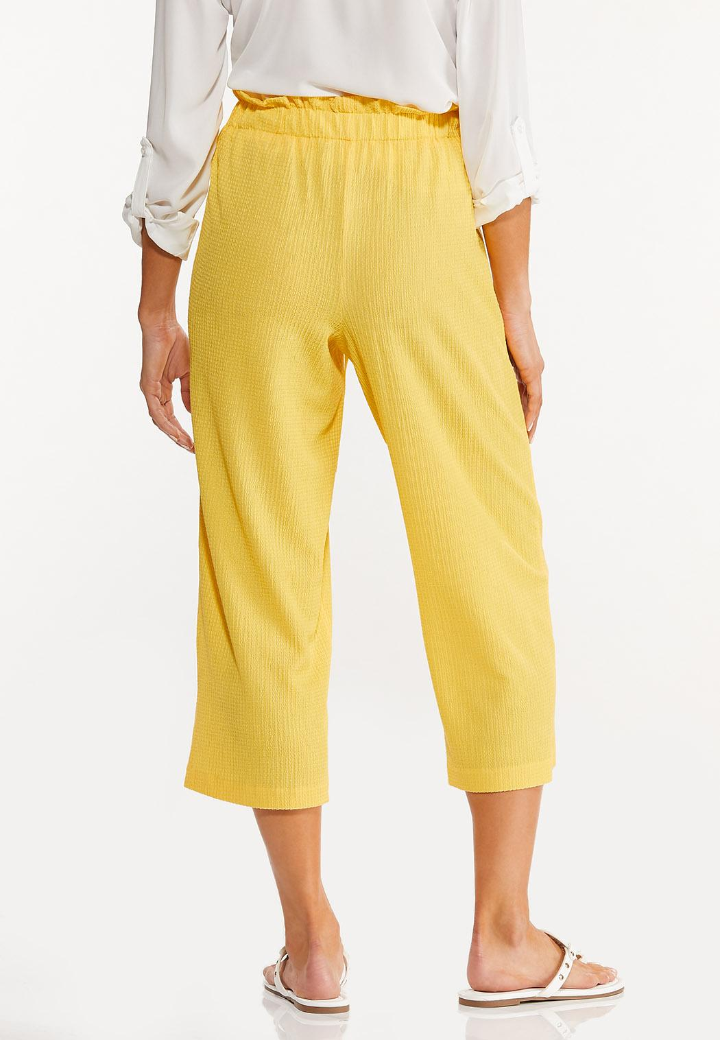Cropped Solid Textured Pants (Item #44547942)