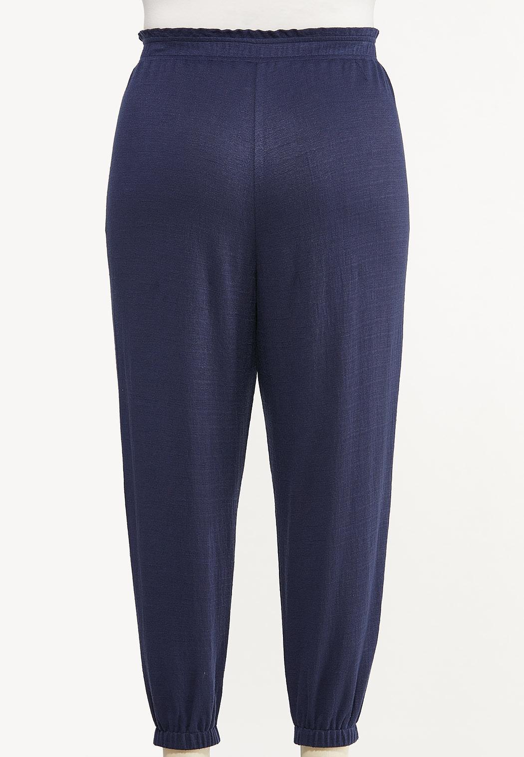 Plus Size Tie Front Joggers (Item #44547966)