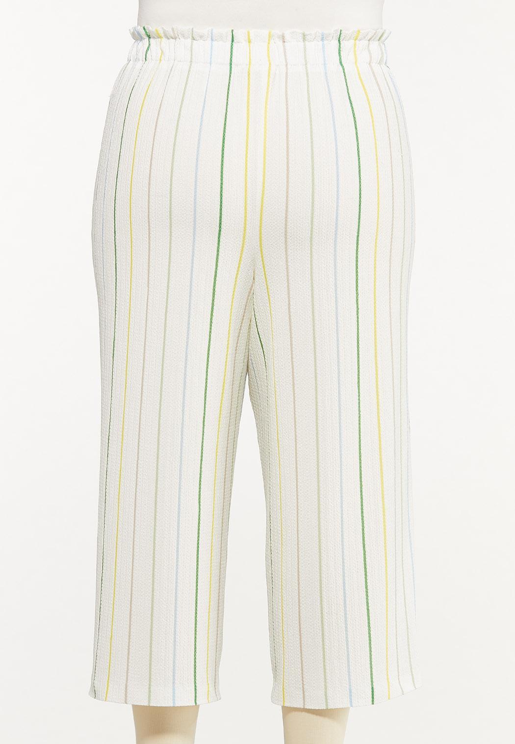 Plus Size Cropped Textured Stripe Pants (Item #44547981)