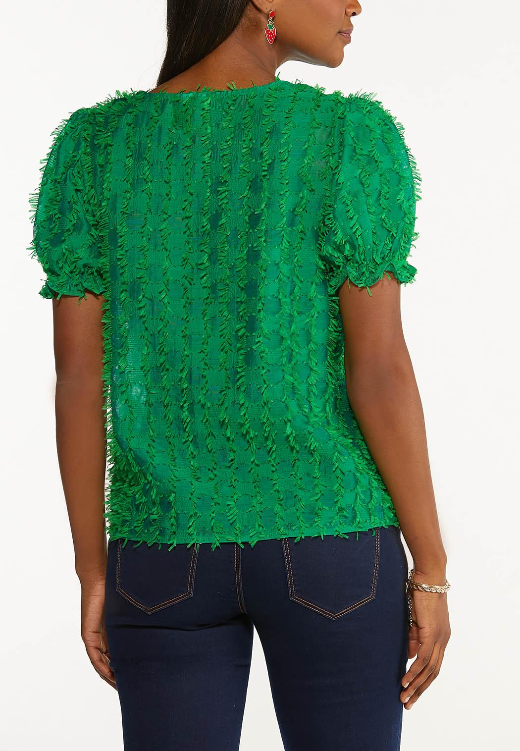 Plus Size Textured Puff Sleeve Top (Item #44548055)