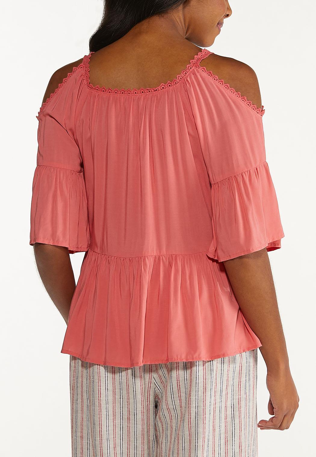 Plus Size Embroidered Cold Shoulder Top (Item #44548117)